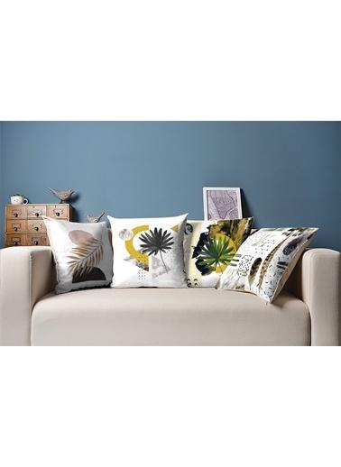Tezkotekstil Pastel Tüyler 4'Lü Kombin Dekoratif Yastık Kırlent Kılıfı Renkli